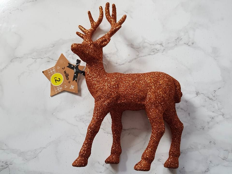 Wilko glitter prancing stag small